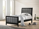 Carlton Grey Leatherette/Black Wood Twin Bed by Coaster