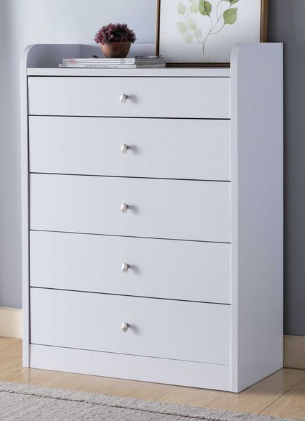 Carlyn White Wood 5-Drawer Chest by ID USA