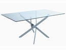 Carmelo 5-Pc Clear Glass/Chrome Metal Dining Table Set by Coaster
