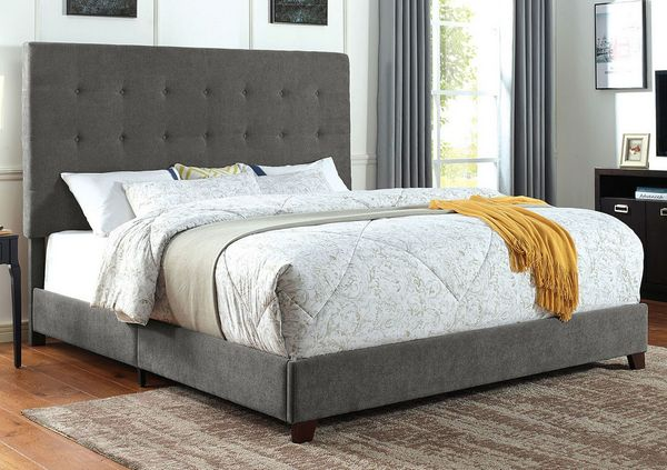 Carroll Gray Fabric Queen Bed by Furniture of America