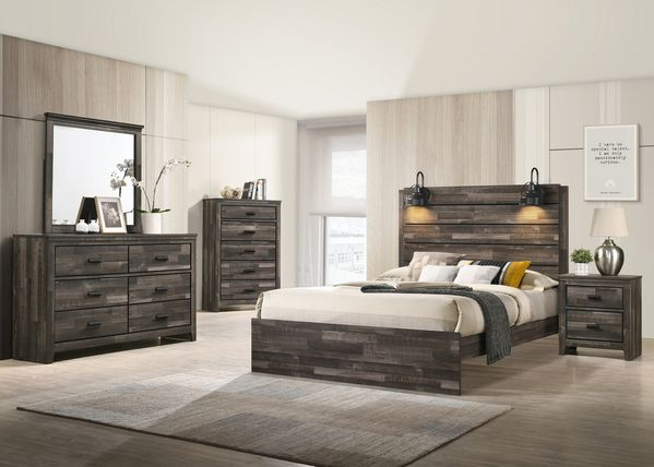 Carter Weathered Grey Wood 2-Drawer Nightstand by Crown Mark