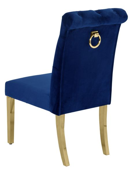 Cassie 2 Navy Blue Fabric/Gold Side Chairs by Best Quality Furniture