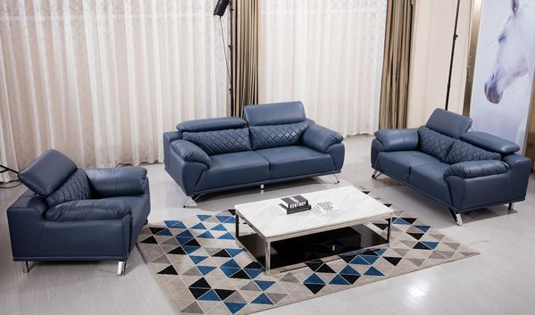 Cateline Blue Genuine Leather Loveseat by American Eagle Furniture