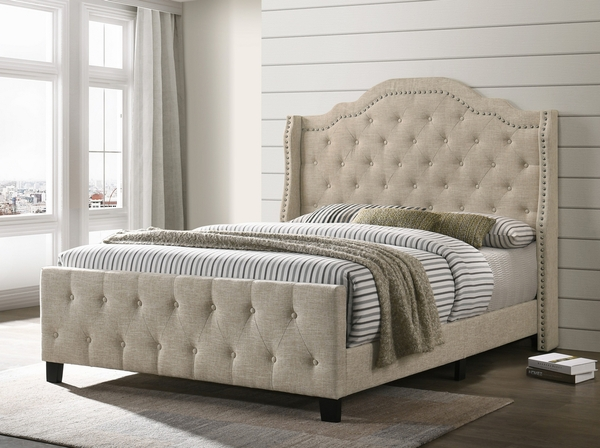 Cecilia Beige Linen Fabric Queen Bed by Best Quality Furniture