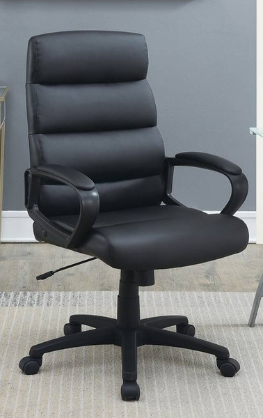Chanah Black Faux Leather Adjustable Office Chair by Poundex