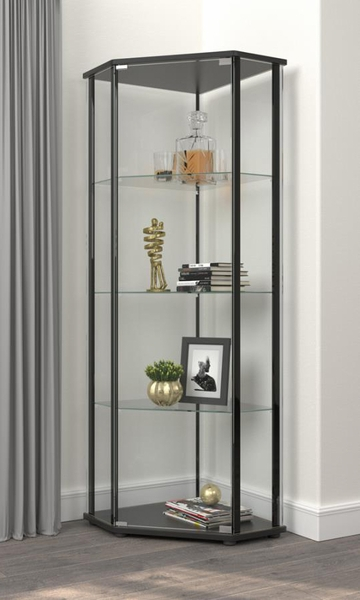 Charleigh Clear Glass/Black Wood Corner Curio Cabinet by Coaster