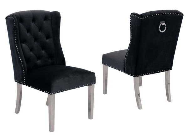 Charline 2 Black Fabric/Silver Side Chairs by Best Quality Furniture