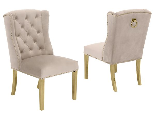 Charline 2 Cream Fabric/Gold Side Chairs by Best Quality Furniture
