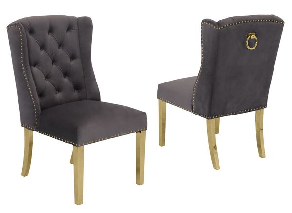 Charline 2 Dark Gray Fabric/Gold Side Chairs by Best Quality Furniture