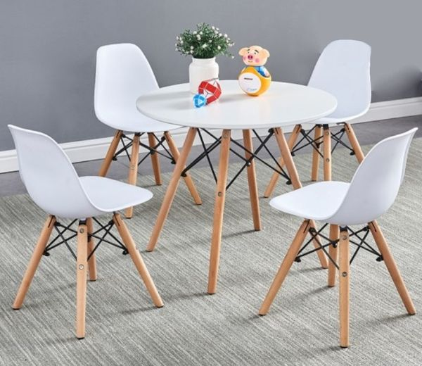 Chelle 5-Pc White Wood Children Dining Set by Best Master Furniture