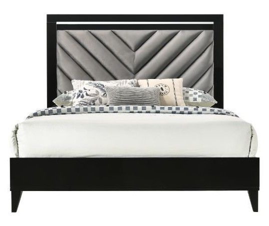 Chelsie Black Wood Queen Bed with Gray Fabric Headboard by Acme