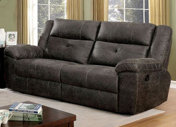 Chichester Dark Brown Manual Recliner Sofa by Furniture of America