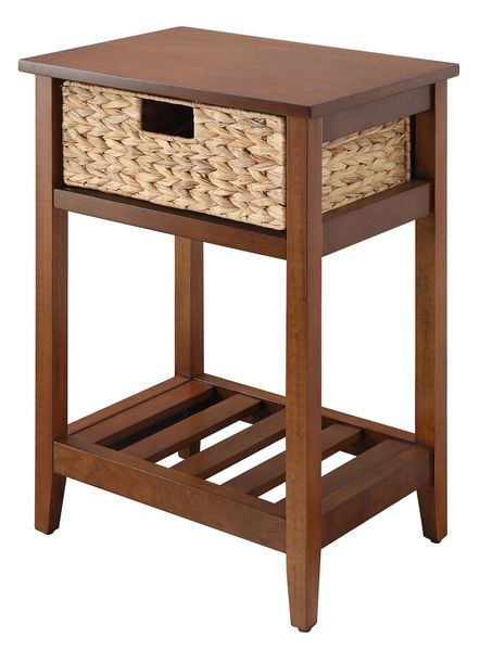 Chinu Walnut Wood/Natural Finish Rattan Side Table by Acme