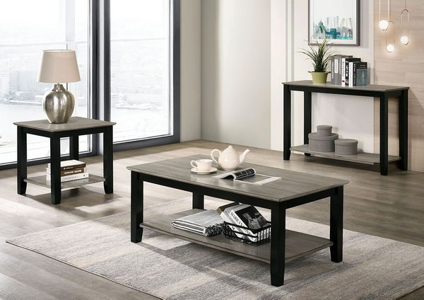 Ciana Gray/Black Wood Coffee Table with Shelf by Furniture of America