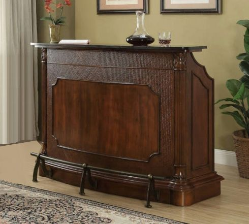 Clarendon Black Marble/Warm Brown Wood Bar Unit by Coaster