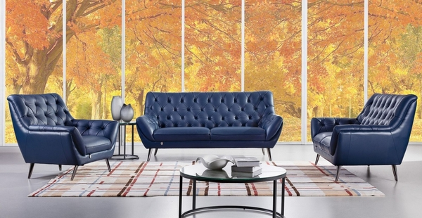 Claudie Navy Blue Italian Leather Chair by American Eagle Furniture