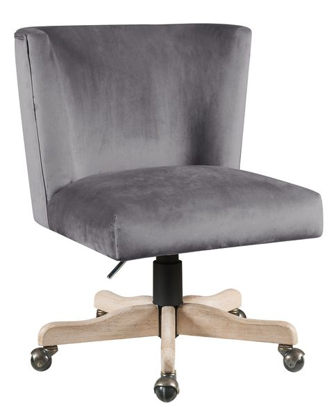 Cliasca Wing Style Gray Velvet/Metal Office Chair by Acme