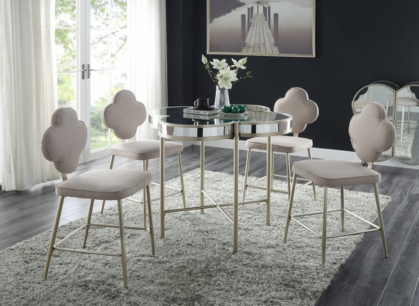 Clover Mirrored/Champagne Metal Counter Height Table by Acme