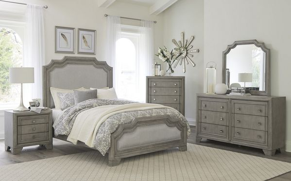 Colchester Driftwood Gray Wood/Gray Fabric Cal King Bed by Homelegance