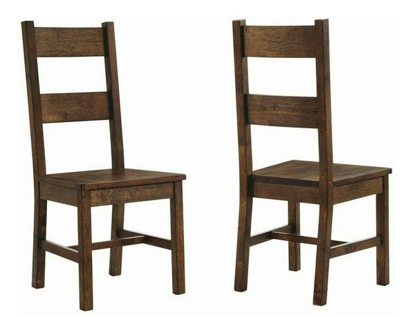 Coleman 2 Rustic Golden Brown Wood Side Chairs by Coaster