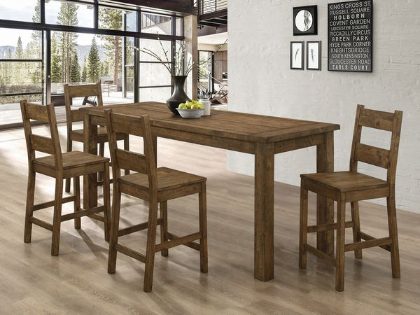 Coleman 5-Pc Rustic Golden Brown Counter Height Table Set by Coaster