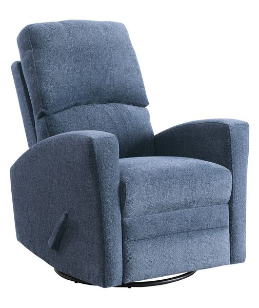 Colrich Blue Chenille Fabric Swivel Manual Recliner by Homelegance