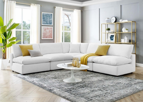 Commix 5-Pc White Performance Velvet Sectional Sofa by Modway