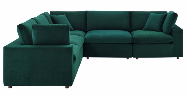 Commix 5-Piece Green Performance Velvet Sectional Sofa by Modway