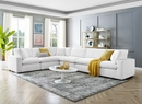 Commix 6-Pc White Performance Velvet Sectional Sofa by Modway