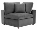 Commix Gray Performance Velvet 4-Seat Sofa with 2 Ottomans by Modway