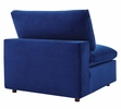 Commix Navy Performance Velvet 4-Seat Sofa with Ottoman by Modway