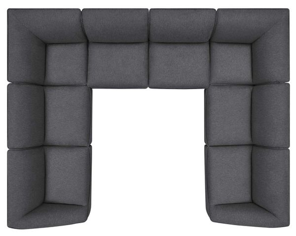 Comprise 8-Pc Charcoal Fabric Sectional Sofa by Modway