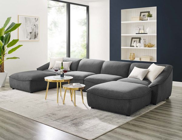 Comprise Charcoal Fabric 4-Seat Sofa with 2 Ottomans by Modway