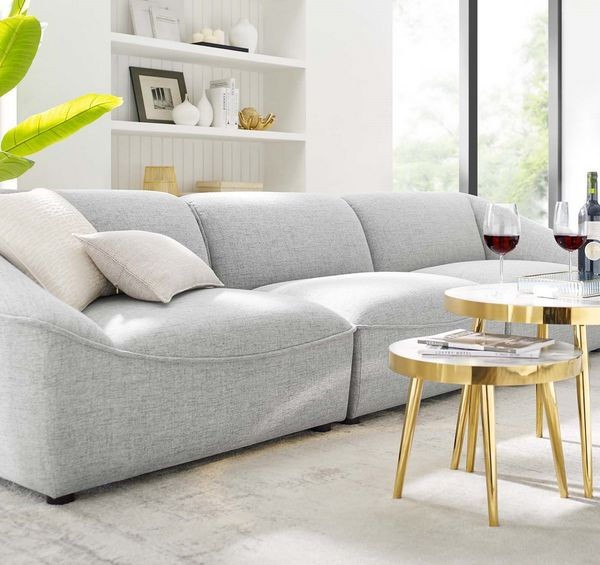 Comprise Light Gray Soft Fabric Sofa by Modway