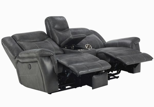 Conrad 2-Pc Breathable Leatherette Power Recliner Sofa Set by Coaster