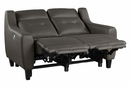 Conrad Grayish Brown Leather Power Recliner Loveseat by Homelegance
