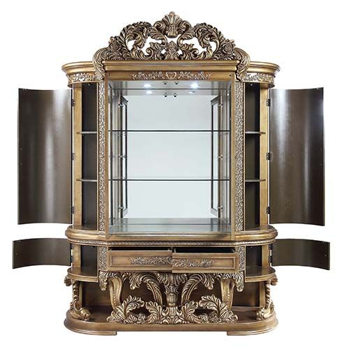 Constantine Brown & Gold Wood Curio by Acme