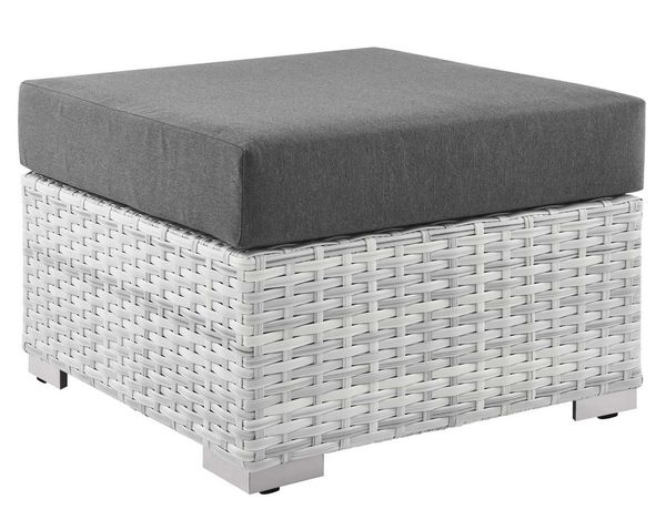 Convene Light Gray/Charcoal Fabric Square Patio Ottoman by Modway