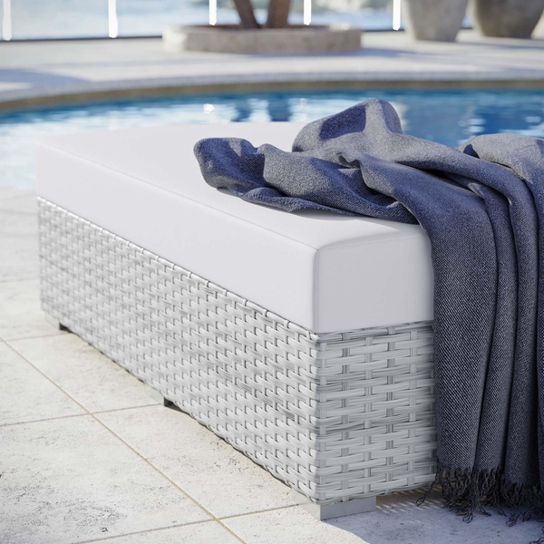 Convene Light Gray/White Fabric Outdoor Patio Ottoman by Modway