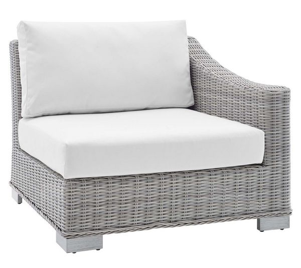 Conway 6-Pc Light Gray/White Modular Outdoor Patio Sectional by Modway