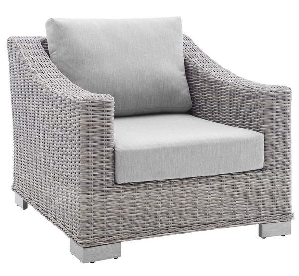 Conway Light Gray Synthetic Rattan/Gray Fabric Patio Chair by Modway