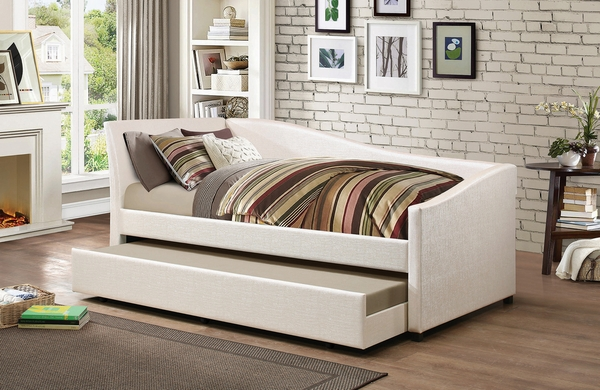 Cramer Ivory Leatherette Twin Daybed with Trundle by Coaster