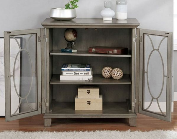 Crissier Gray Wood/Glass Hallway Cabinet by Furniture of America
