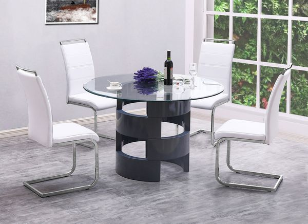 Crystall 5-Pc White/Gray Dining Table Set by Best Quality Furniture
