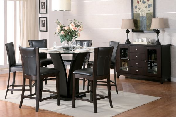 Daisy Glass/Espresso Wood Counter Height Table by Homelegance