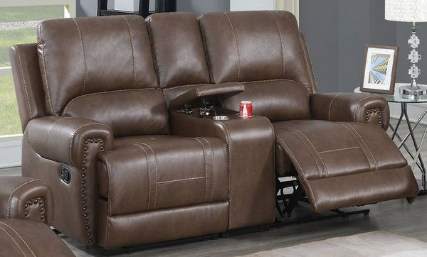 Dalitso Brown Gel Leatherette Manual Recliner Loveseat by Poundex