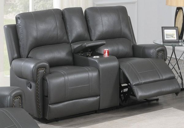 Dalitso Grey Gel Leatherette Power Recliner Loveseat by Poundex