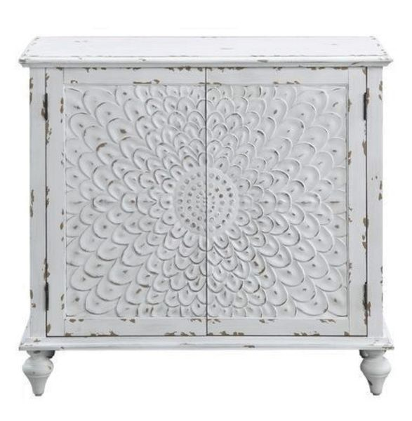 Daray Antique White Wood Console Table by Acme