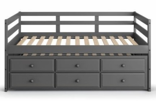 Darcie Gray Wood Twin Bed with Trundle & Storage by Acme