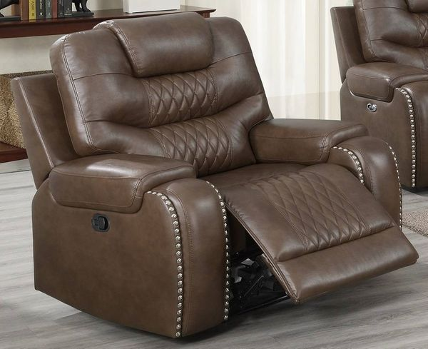 Davena Brown Gel Leatherette Manual Recliner by Poundex